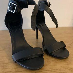 "Black Size 8.5 4"" Ankle Strap Heels Buckle"